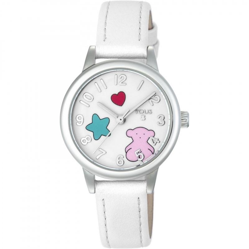"""Reloj Tous para niña """"Muffin"""" con correa de piel blanca y motivos en colores, ref. 800350625."""
