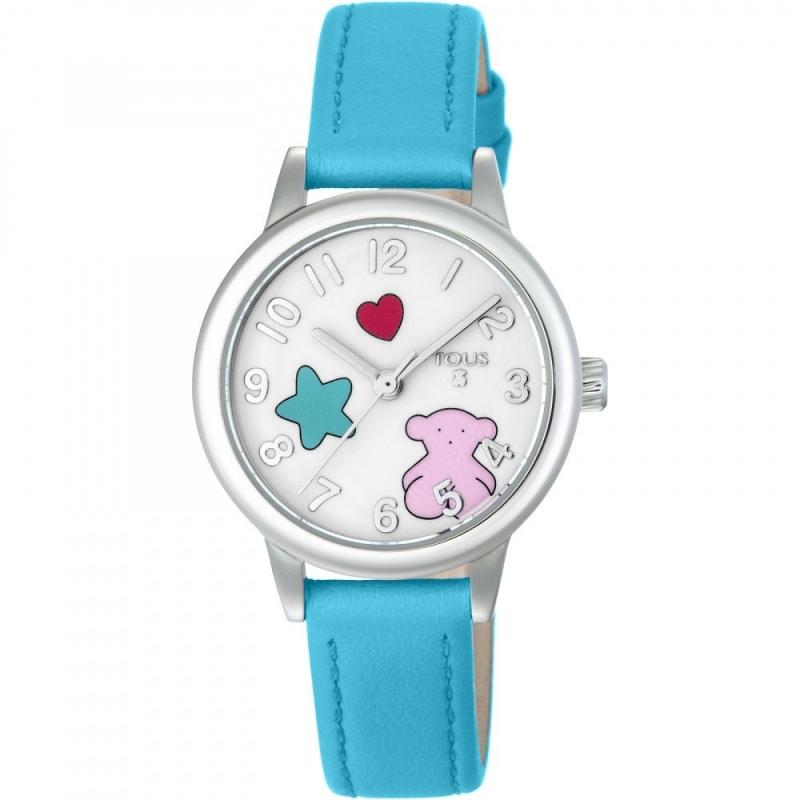 """Reloj Tous de niña """"Muffin"""" con correa de piel azul y motivos en esfera, ref. 800350635."""