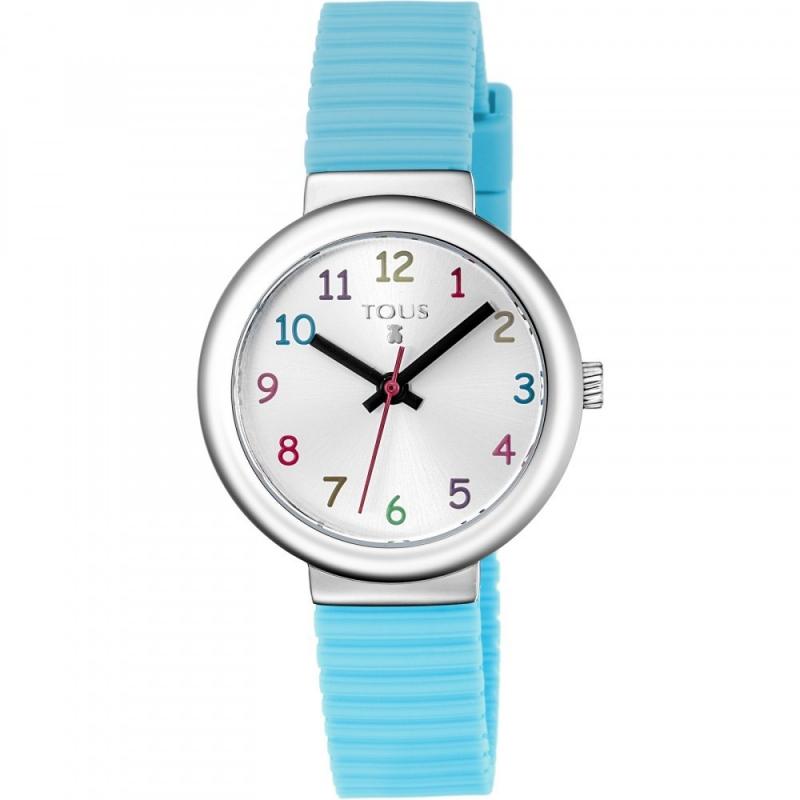 """Reloj Tous para niña con correa de silicona azul y número de colores """"Rainbow"""", 800350605."""