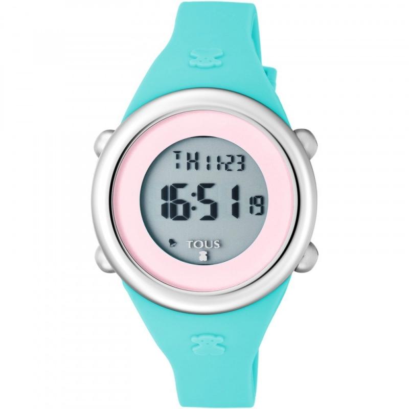 """Reloj Tous para niña """"Soft Digital"""" en silicona azul y pantalla rosa, ref. 800350620."""