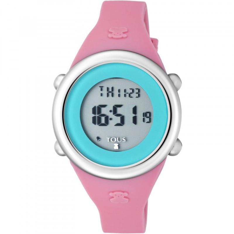 """Reloj Tous para niña """"Soft Digital"""", en silicona rosa y pantalla celeste, ref. 800350615."""