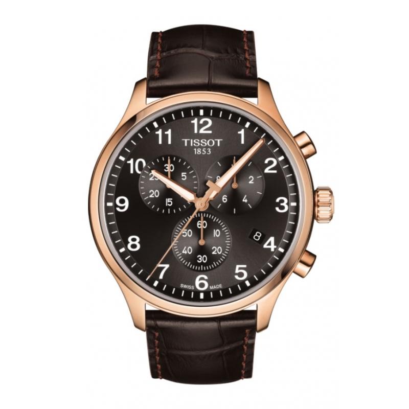 Reloj Tissot Chrono XL para hombre, en marrón chocolate y caja chapada, ref. T1166173605701.