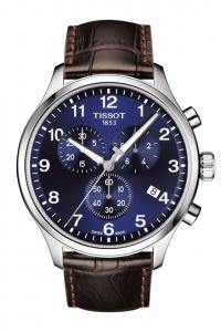 Reloj Tissot Chrono XL para hombre, con esfera azul y correa de piel marrón, T1166171604700.