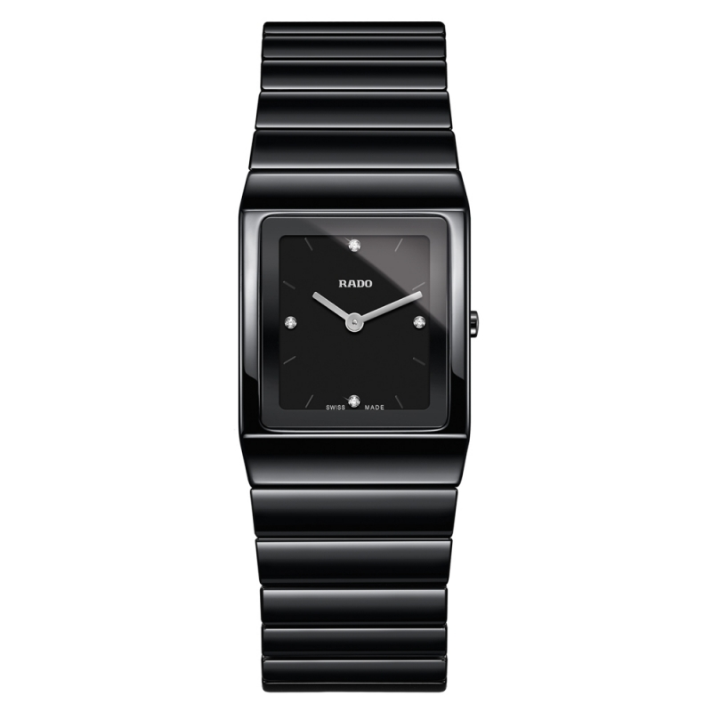 Reloj Rado de mujer en cerámica negro, con 4 diamantes en esfera, ref. R21702702.