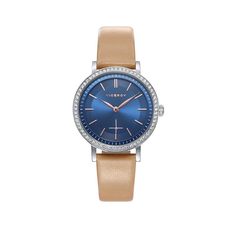 Reloj Viceroy Chic para mujer, con esfera azul, circonitas y correa camel, ref. 471108-37.