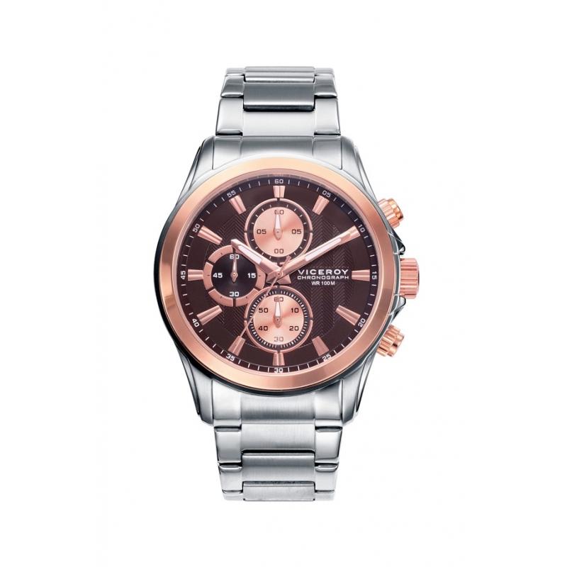 """Reloj Viceroy para cabellero """"Magnum"""" con cronógrafo y esfera marrón, ref. 46669-47."""