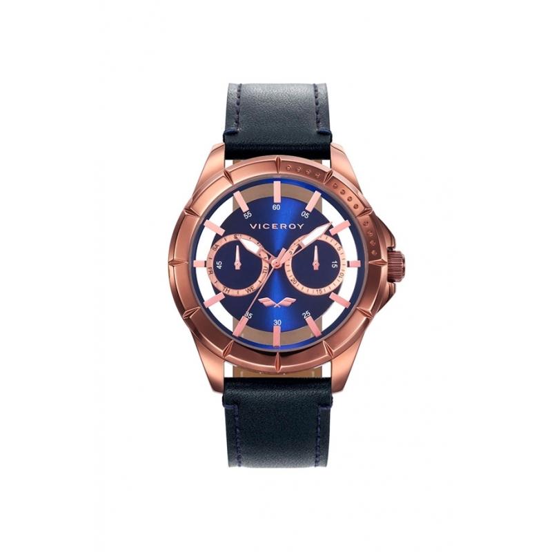 """Reloj Viceroy """"Antonio Banderas"""" para hombre en marrón, esfera azul y correa negra, ref. 401049-37."""