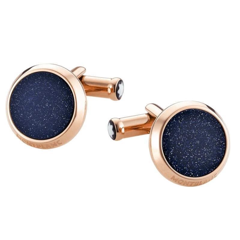 Gemelos Montblanc en acero chapados redondos, con aventurina azul, ref. 112908.