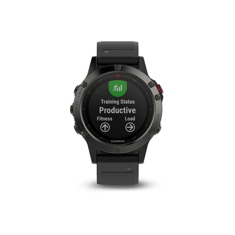 Reloj Garmin Fénix® 5 negro con correa extra amarilla y GPS, ref. 010-01688-00.