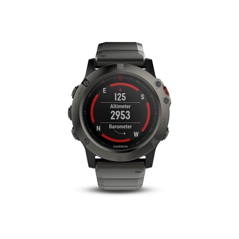 Reloj Garmin Fénix® 5X en acero chapado en gris y correa extra, ref. 010-01733-03.
