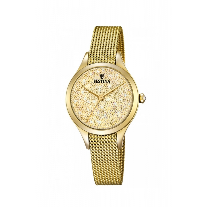 lechuga club Detener  Reloj Festina de mujer dorado, con piedras Swarovski® en la esfera,  F20337/2.