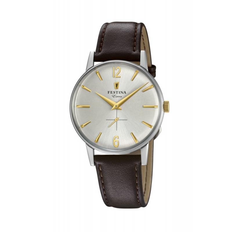 Reloj Festina 1948 para hombre, de estilo retro con correa piel marrón, F20248/2.