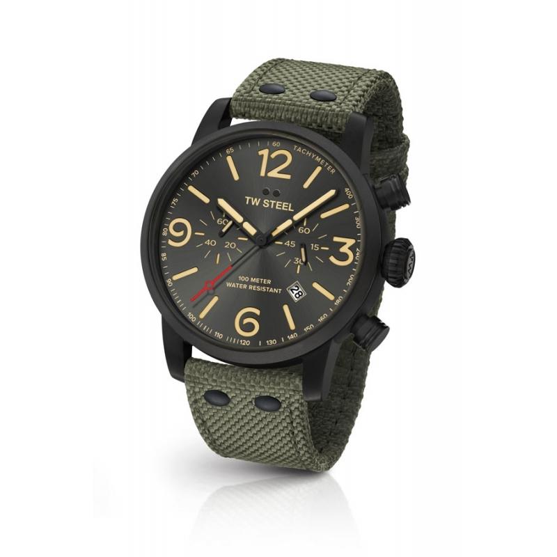 Reloj Tw Steel Maverick para hombre 48 mm. en caja negra y verde, ref. MS124.