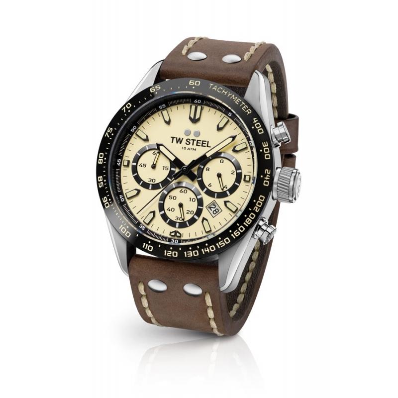 Reloj Tw Steel Chrono Sport CHS2 para hombre con esfera amarillo y correa de piel.