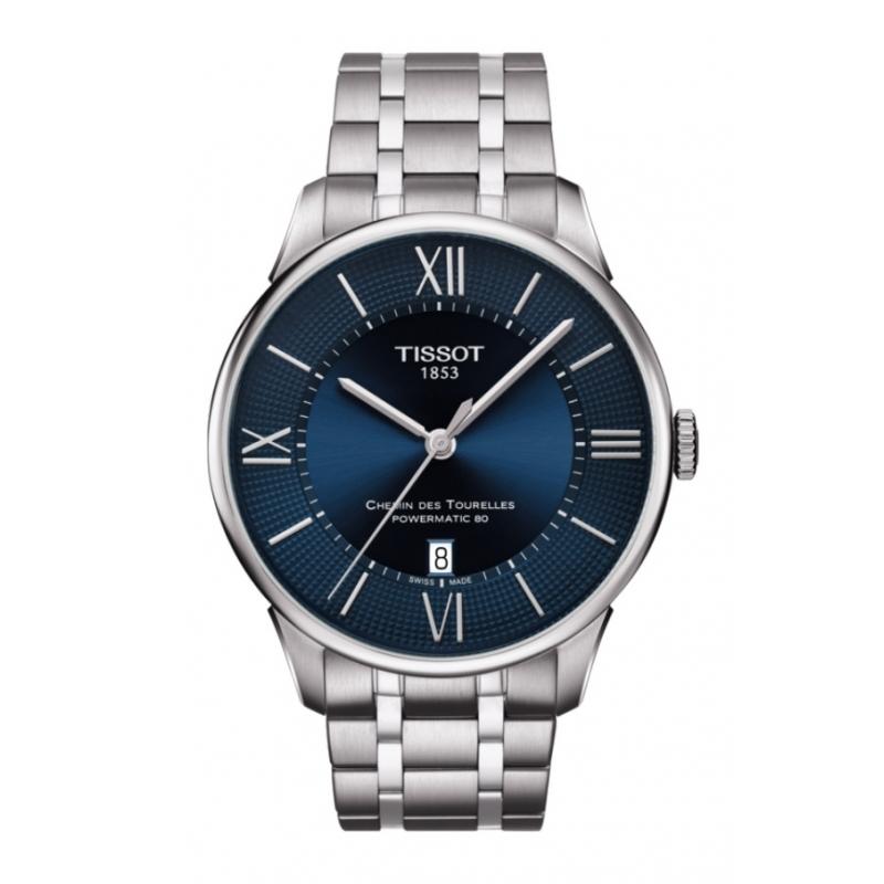Reloj Tissot Chemin des Tourelles automático de hombre, acero y esfera azul, T0994071104800.