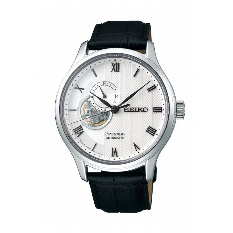 Reloj Seiko Presage SSA379J1 automático de hombre, esfera blanca y correa.