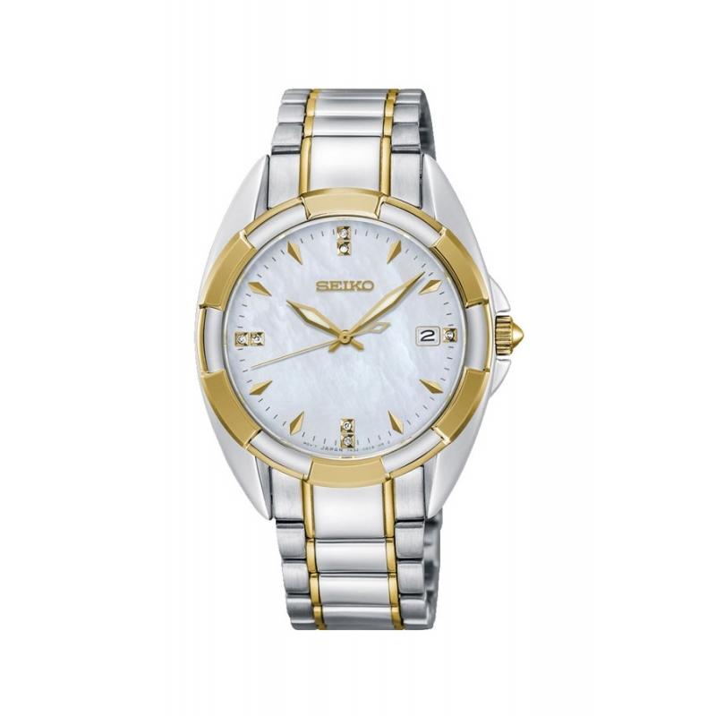 Reloj Seiko SKK886P1 de mujer, bicolor, nácar y diamantes.