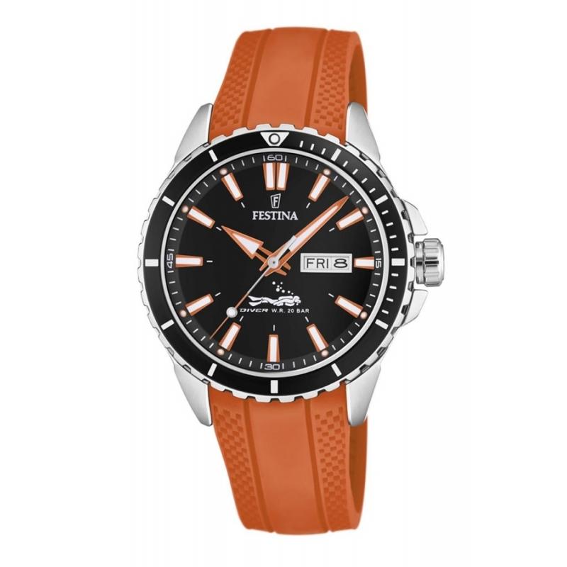 Reloj Festina F20378/5 Diver 200 metros, con correa de silicona naranja.