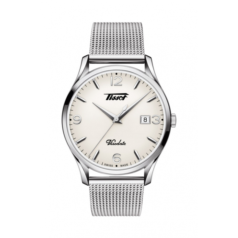 "Reloj Tissot ""Heritage Visodate"" T1184101127700 en acero de cuarzo, con malla milanesa."