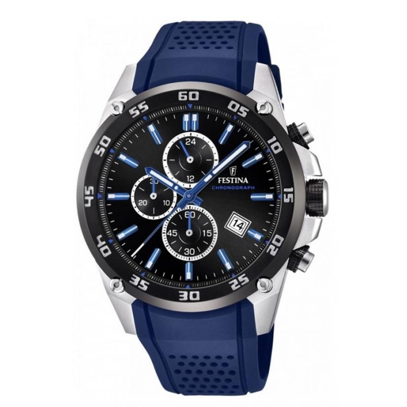 Reloj Festina F20330/8 de hombre, con cronógrafo, correa azul y esfera negra.