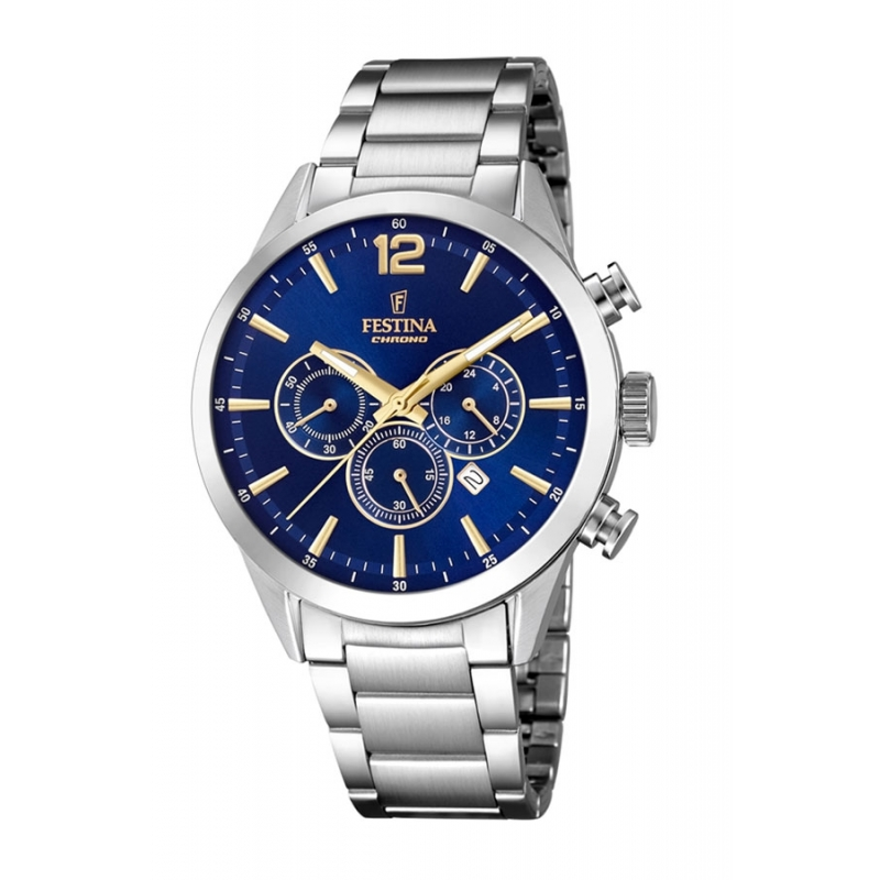 Reloj Festina F20343/2 de caballero, en acero, esfera azul y detalles dorados.