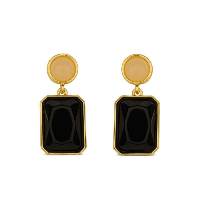 14b74699e7fe Pendientes dorados con piedra negra y naranja