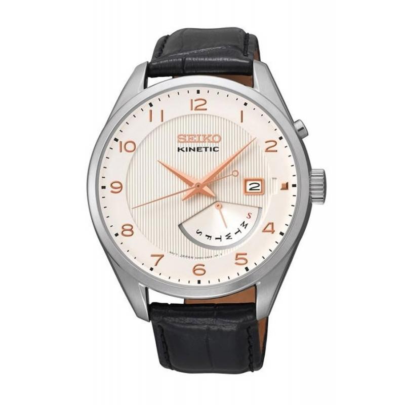 Reloj Seiko SRN049P1 Neo Classic con Kinetic para hombre y correa de piel.