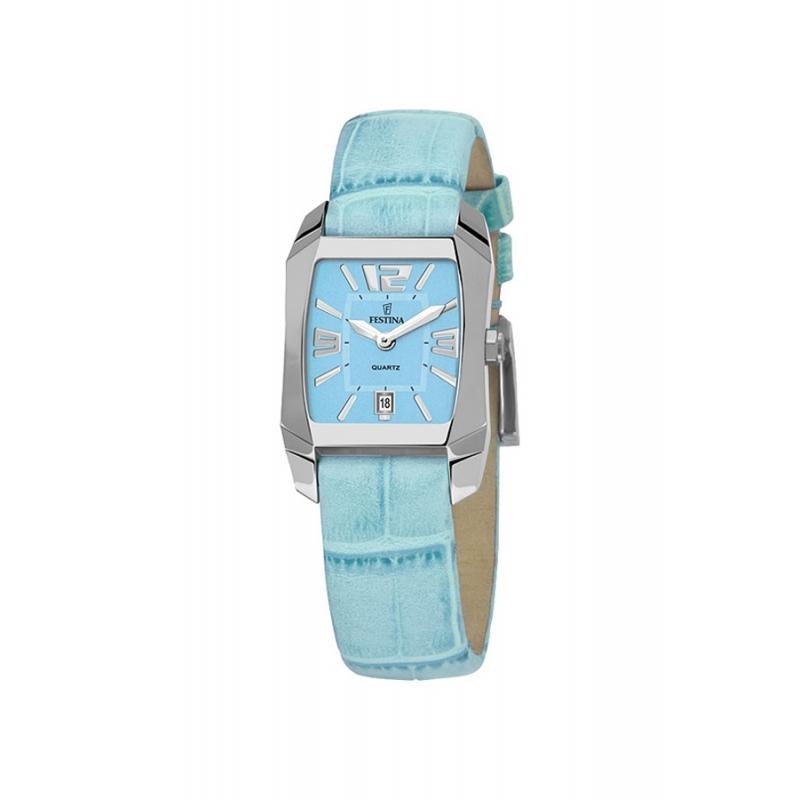 Reloj Festina de chica, con correa de piel azul turquesa, ref. F16137/6.