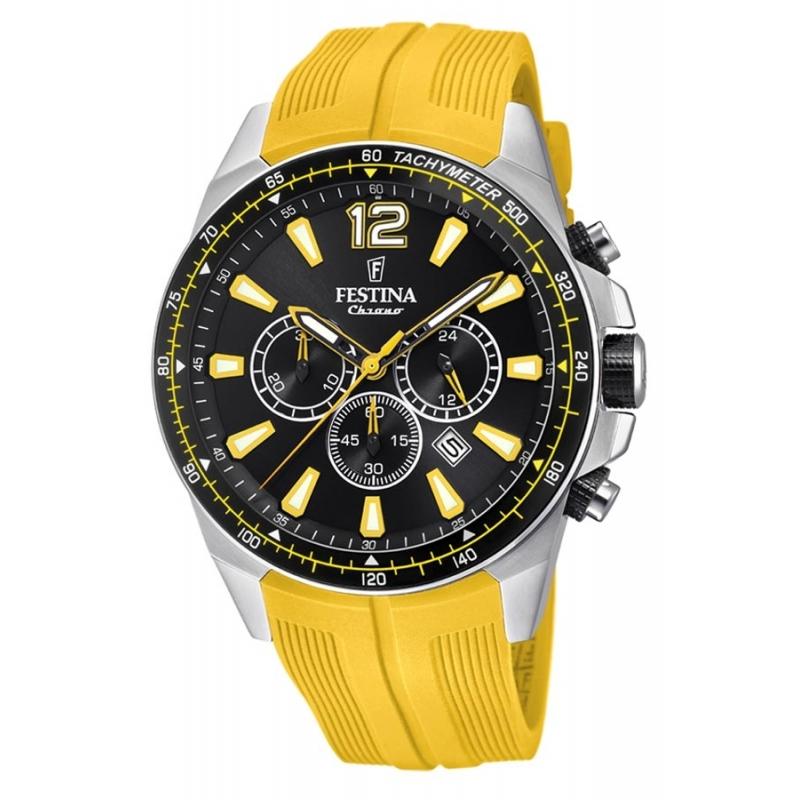 Reloj Festina F20376/4 de hombre, con cronógrafo y correa de silicona amarilla.