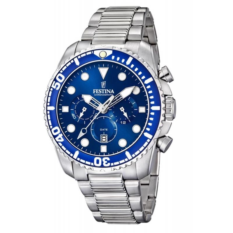 Reloj Festina F16564/A de hombre, en acero, esfera azul y cronógrafo.
