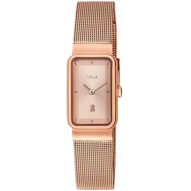 "Reloj Tous de mujer 800350885, dorado en oro rosé con correa de malla, ""Squared Mesh""."