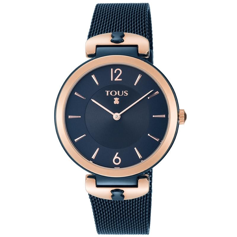 """Reloj Tous de mujer 800350835 en acero chapado azul y rosado, """"S-Mesh""""."""