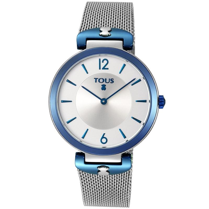 """Reloj Tous de mujer 800350830 en acero y detalles azules, con malla, """"S-Mesh""""."""