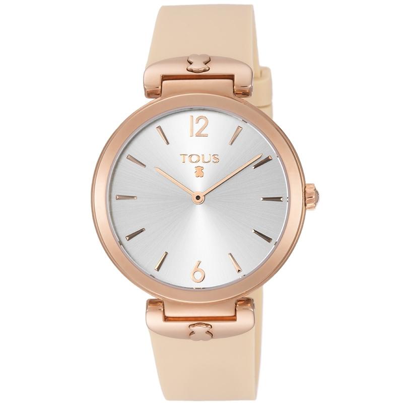 """Reloj Tous de mujer 800350850 dorado en oro rosé y correa de silicona, """"S-Mesh""""."""