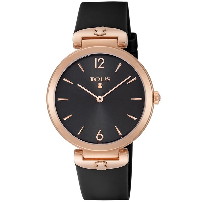 """Reloj Tous de mujer """"S-Mesh"""" con caja rosada y correa silicona negra, ref. 800350855."""