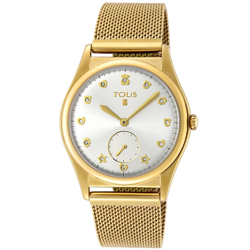 """Reloj Tous de mujer """"Free"""" dorado en oro, circonitas y malla milanesa, ref. 800350815."""