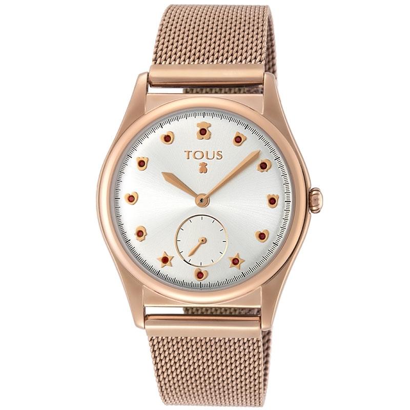 Reloj Tous de mujer Free, chapado en oro rosé y circonitas rojas, ref. 800350825.