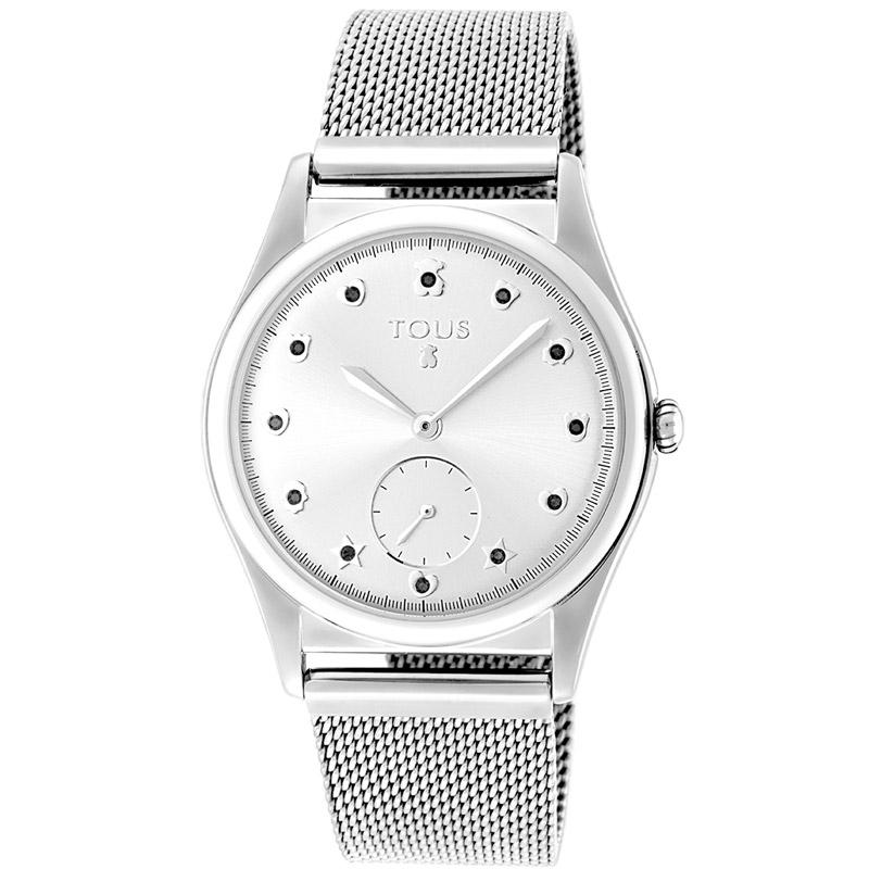 Reloj Tous Free de mujer, en plateado con espinelas azules, ref. 800350810.