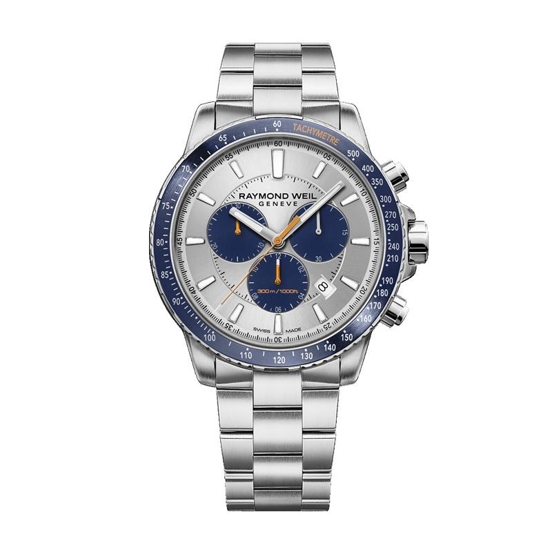 Reloj Raymond Weil Tango de hombre, cronógrafo con detalles azules y naranjas, ref. 8570-ST3-65501.