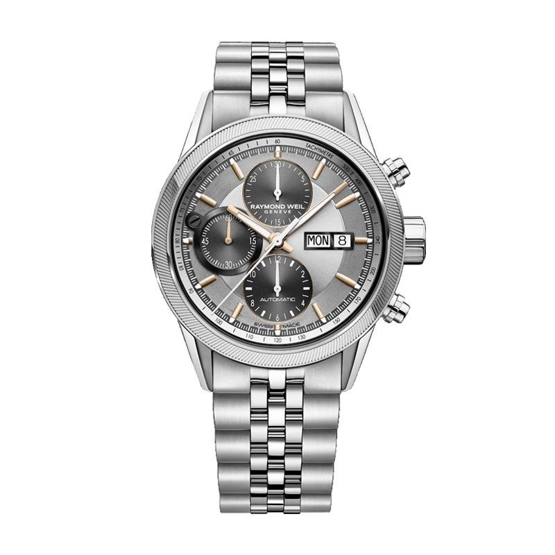 Reloj Raymon Weil Freelancer 7731-ST2-65655 automático de hombre, en acero, cronógrafo y detalles dorados.