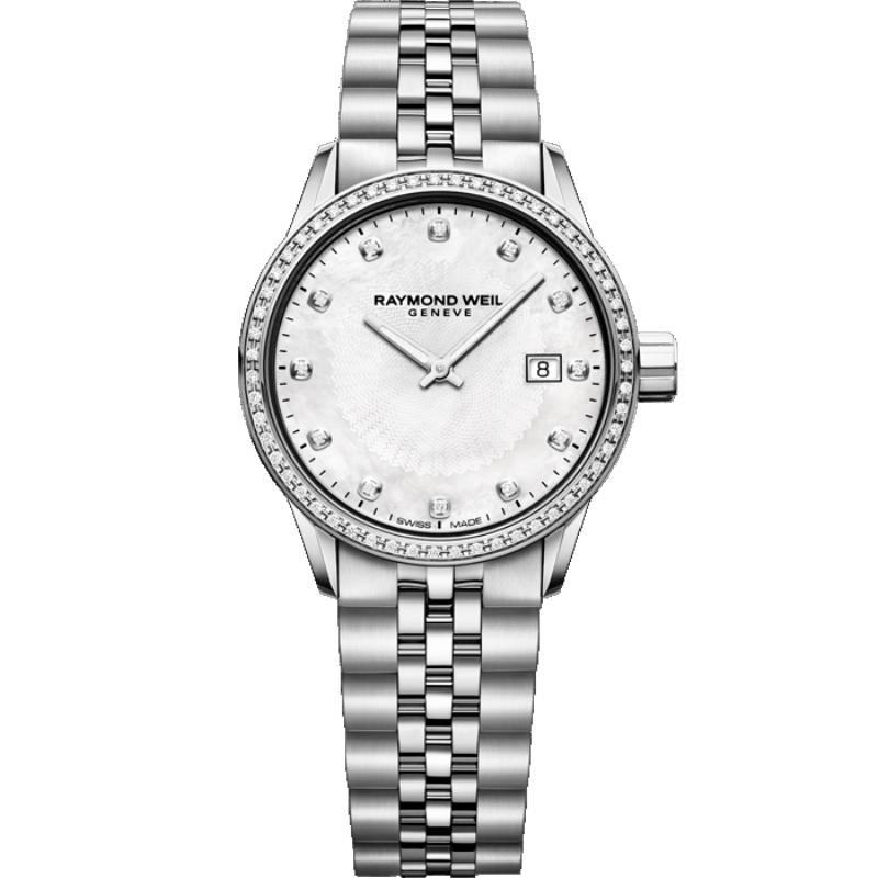 Reloj Raymond Weil 5629-STS-97081 Freelancer de mujer, en acero, nácar y diamantes.