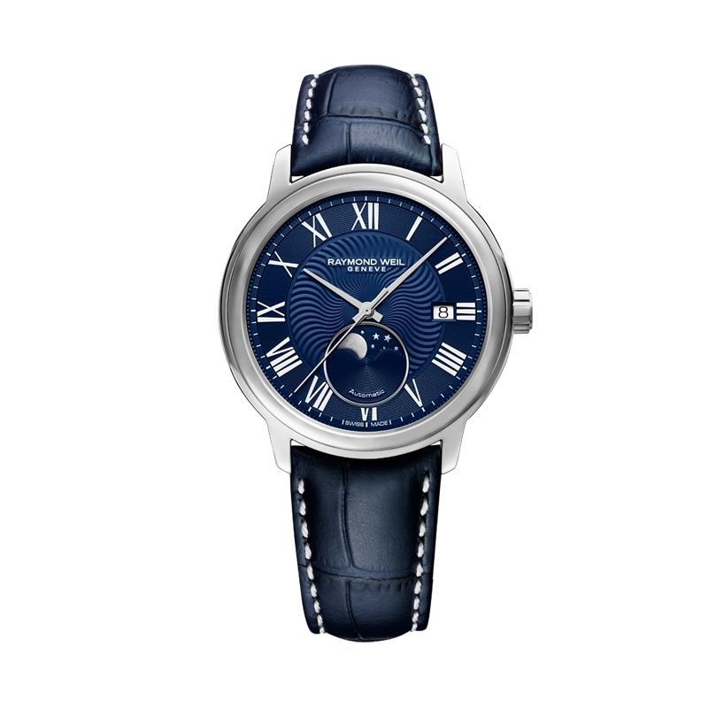 Reloj Raymond Weil Maestro, automático con fase lunar en azul, para hombre 2239-STC-00509.