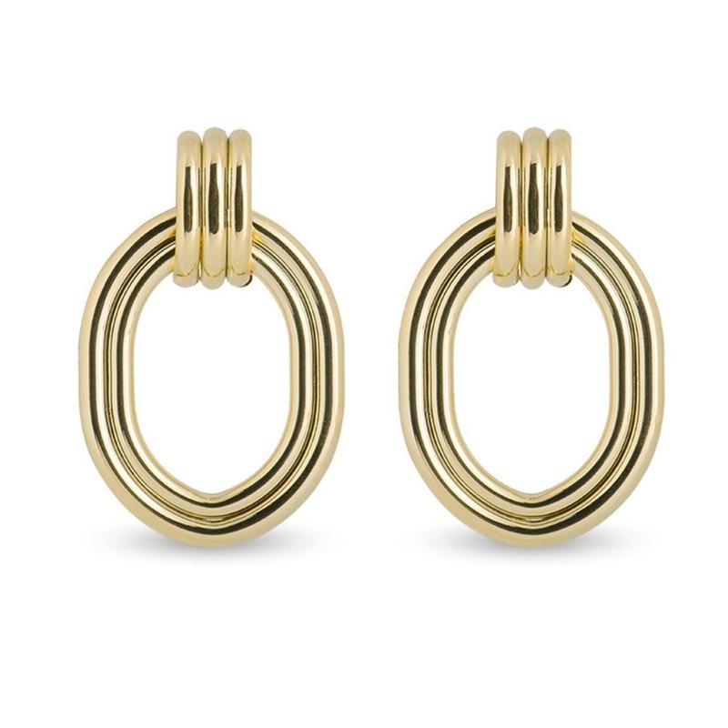 Pendientes largos y geométricos dorados, Oan de Luxenter, ref. SGEW334.