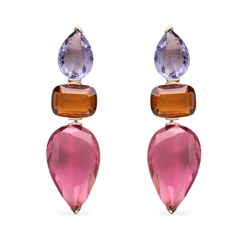 Pendientes largos chapados en oro rosé, con cuarzos de colores, Decyn de Luxenter ref. EXA055R920.