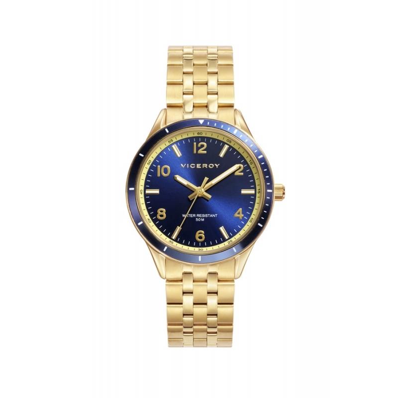 Reloj Viceroy 401042-35 para mujer dorado con esfera azul.
