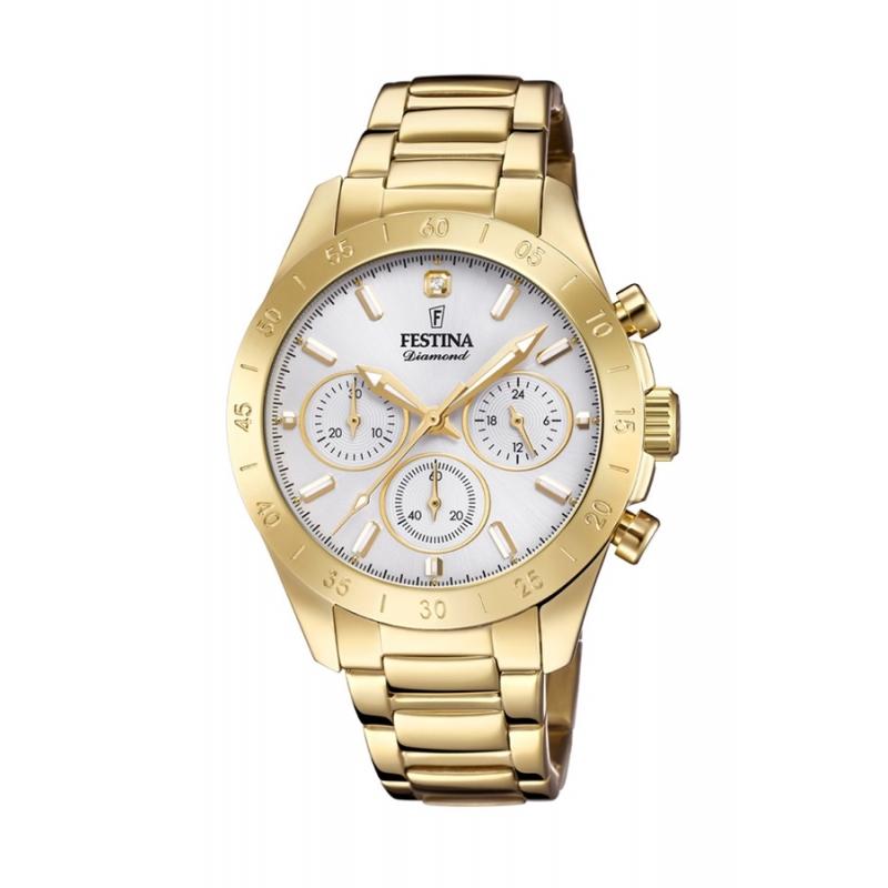 Reloj Festina Boyfriend Diamond F20400/1 de mujer, con cronógrafo y dorado.