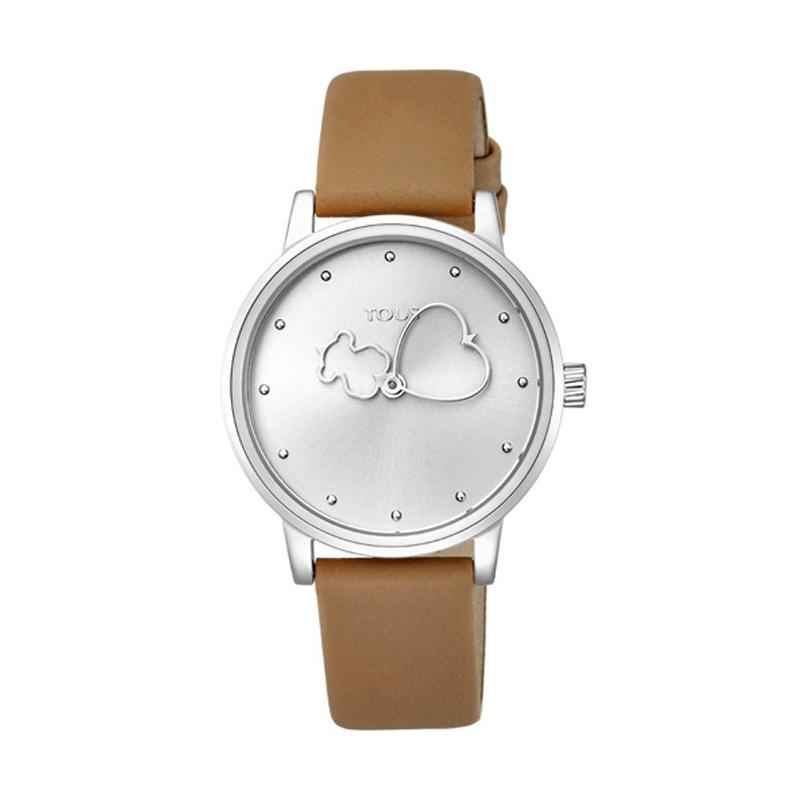 Reloj Tous de mujer 800350930 Bear Time, en acero y correa de piel marrón.