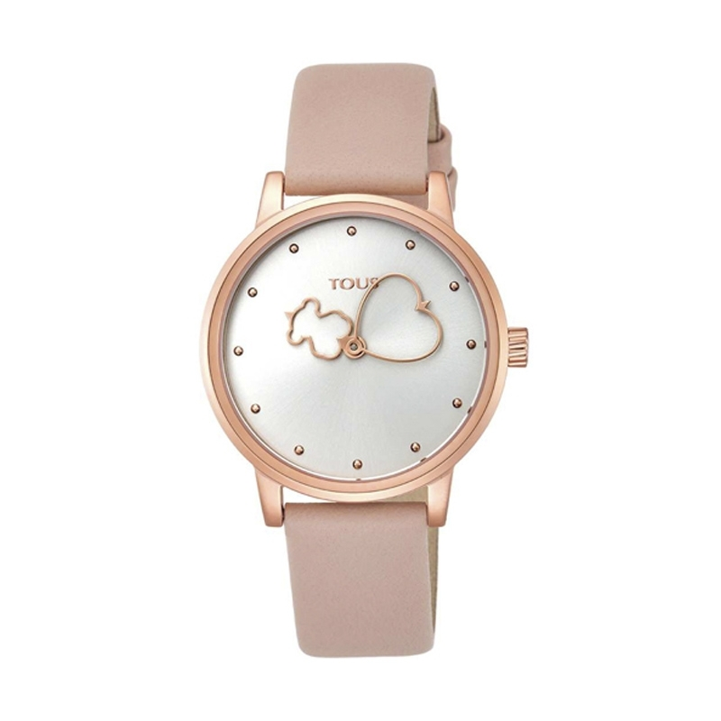 Reloj Tous 800350925 de mujer Bear Time, dorado con correa de piel rosa.