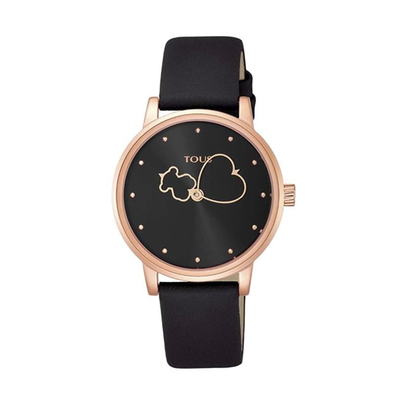 Reloj Tous de mujer 800350920 Bear Time, en negro y caja dorada en oro rosé.
