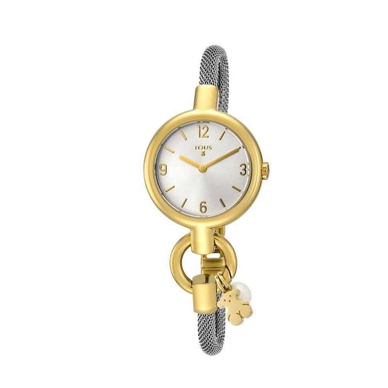 Reloj Tous de mujer 800350860 Hold, bicolor con colgante de perla.